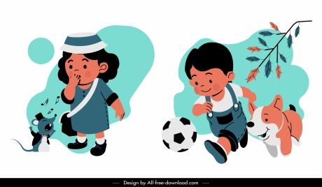 childhood icons cute boy girl sketch cartoon characters