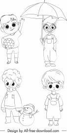 childhood icons cute boys sketch handdrawn cartoon