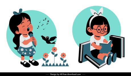 childhood icons cute girls sketch singing reading activities