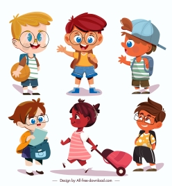 childhood icons cute kids sketch cartoon characters