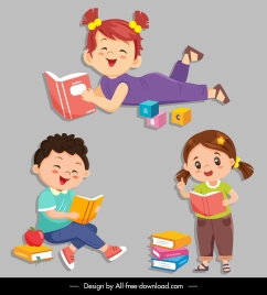 childhood icons studying kids sketch cartoon characters