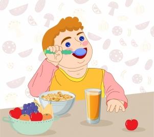 childhood painting boy eating breakfast icon cartoon design