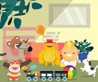 childhood painting cute kid toys icons cartoon design