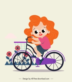 childhood painting girl riding bicycle sketch cartoon character
