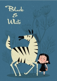 childhood painting girl zebra icons classical design