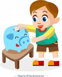 childhood painting saving activity theme cute cartoon character