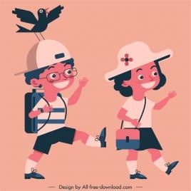 childhood painting schoolchildren sketch cartoon characters classic design