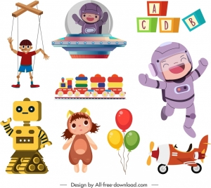 childhood toys icons cute colorful sketch