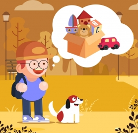 childhood wish background boy toys speech bubble icons