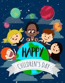 children day banner kids planets globe icons decoration