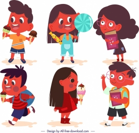 children icons cute cartoon characters sketch