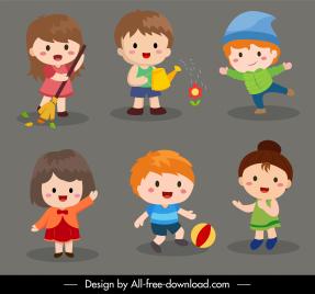 children icons cute girls boys sketch cartoon characters