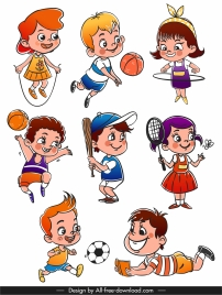 children icons playful sketch cute cartoon characters