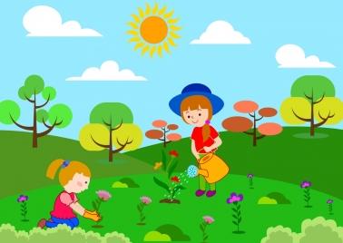 children planting flowers theme colorful cartoon sketch