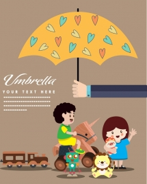 children protection banner kids toys umbrella icons decoration
