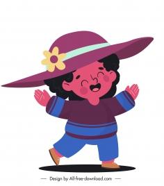 chilhood icon joyful girl sketch cute cartoon character