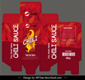 chili sauce bottle package template red hot fire