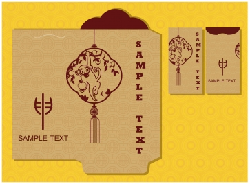 chinese new year monkey red packet design