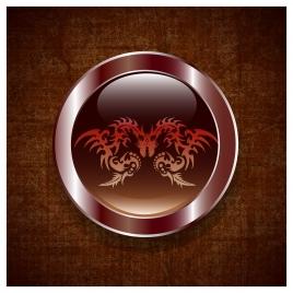 chinese zodiac round icon with eastern dragon design