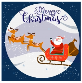 chirstmas background isolated with santa riding on moon