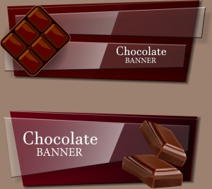 chocolate advertising banner set shiny brown design