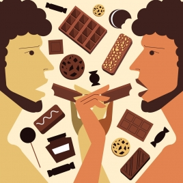 chocolate advertising candies eating people icons symmetric design
