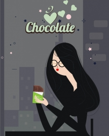 chocolate advertising eating woman icon classical cartoon design