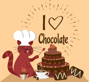 chocolate background cute cat cream cake icons decoration