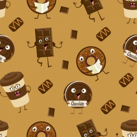 chocolate background stylized candies icons ornament
