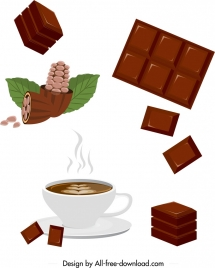 chocolate products icons colored 3d design
