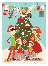christmas atmosphere concept with gathering family illustration