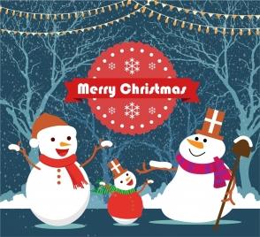 christmas backdrop design snowmen family on forest background