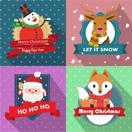 christmas backdrops collection various symbols in colored style