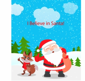christmas background design with santa claus and fox