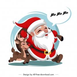 christmas background funny santa reindeer sketch cartoon design