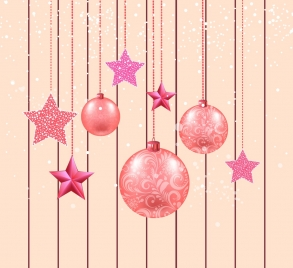 christmas background hanging decorative baubles icons