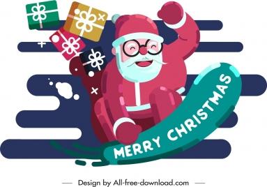 christmas background joyful santa claus gifts icons