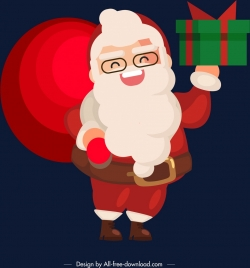 christmas background santa claus present icons cartoon character