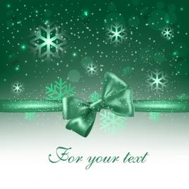 christmas background shiny green decor snowflakes knot icons