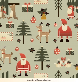 christmas background template classical design repeating elements