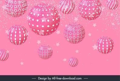 christmas background template pink baubles decor modern 3d