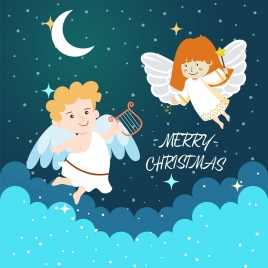 christmas banner cute angel icons colored cartoon design