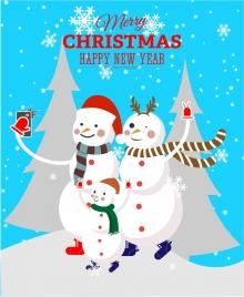 christmas banner design snowman selfie style
