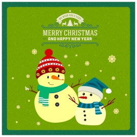 christmas banner design with snowmen wearing scarf