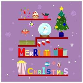 christmas banner design with symbols arrangement on shelf