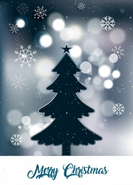 christmas banner fir tree snowflakes bokeh backdrop