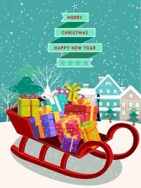 christmas banner gift boxes snowfall town icons