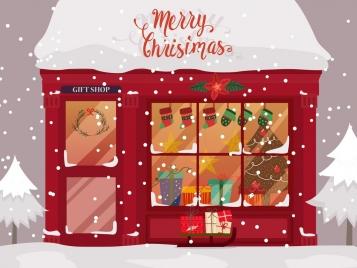 christmas banner gift store snowfall icons decor