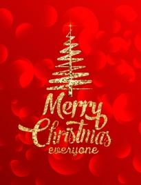 christmas banner glittering golden decor bokeh red backdrop