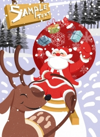 christmas banner sleighing santa claus icon colored cartoon
